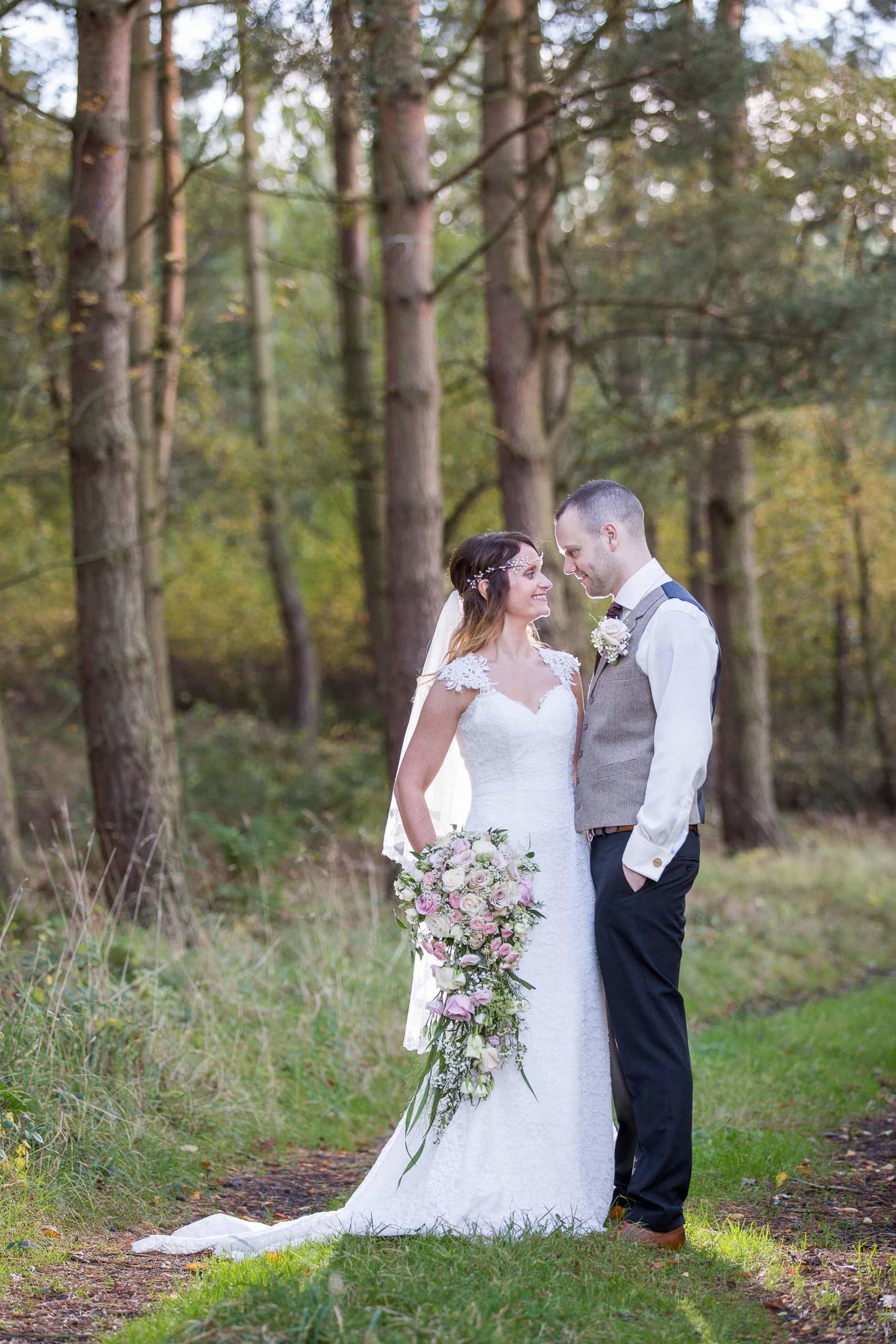 Happy couple at Healey Barn