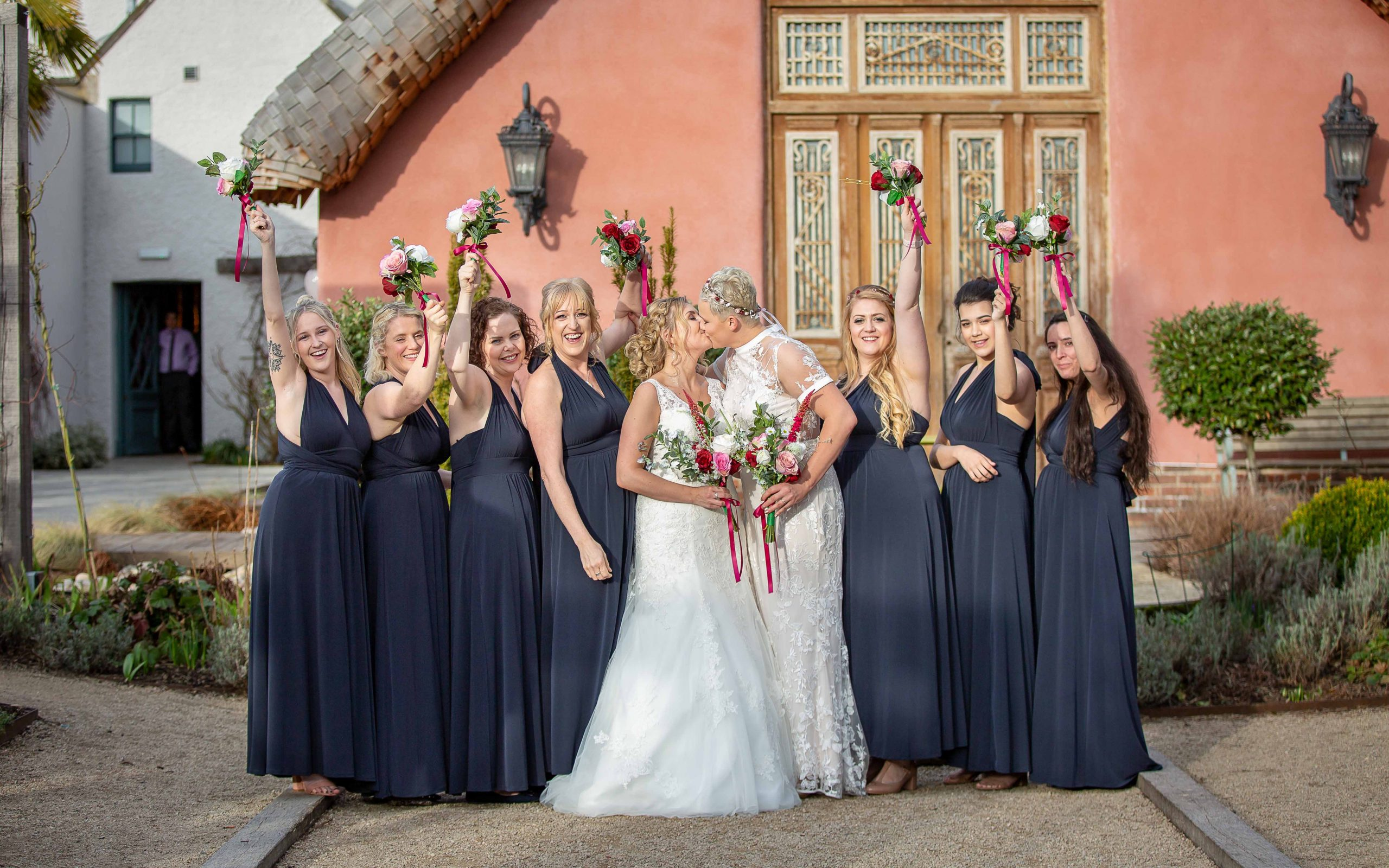Brides with Bridesmaids at Le Petit Chateau, Northumberland