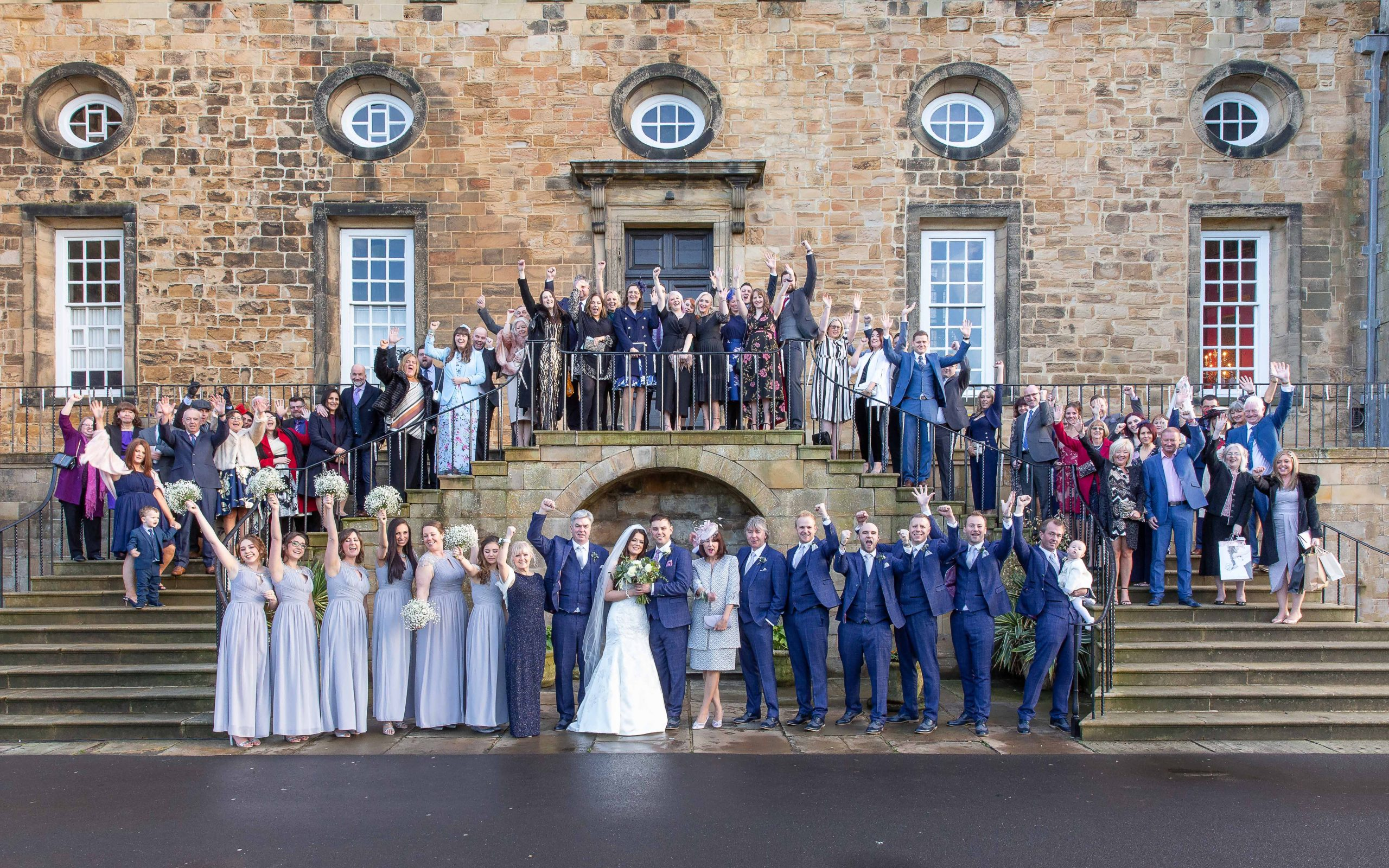 Group wedding photo at Lumley Castle