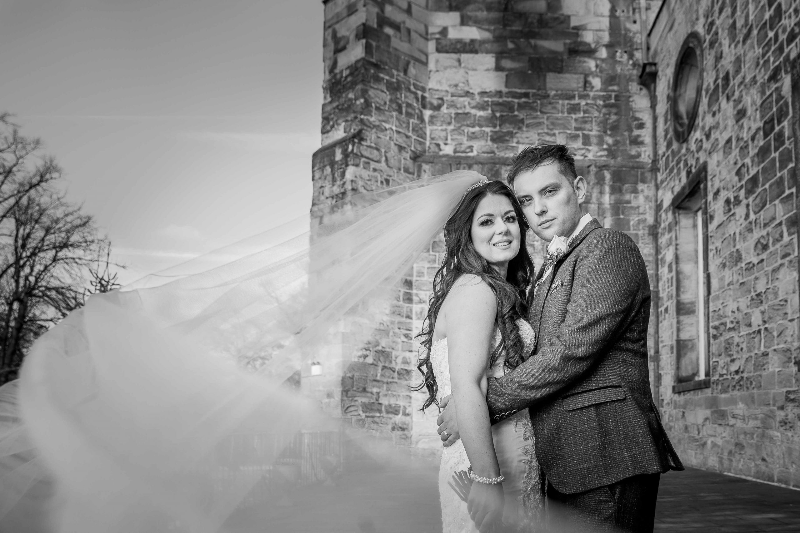 Black and white wedding photos at Lumley Castle