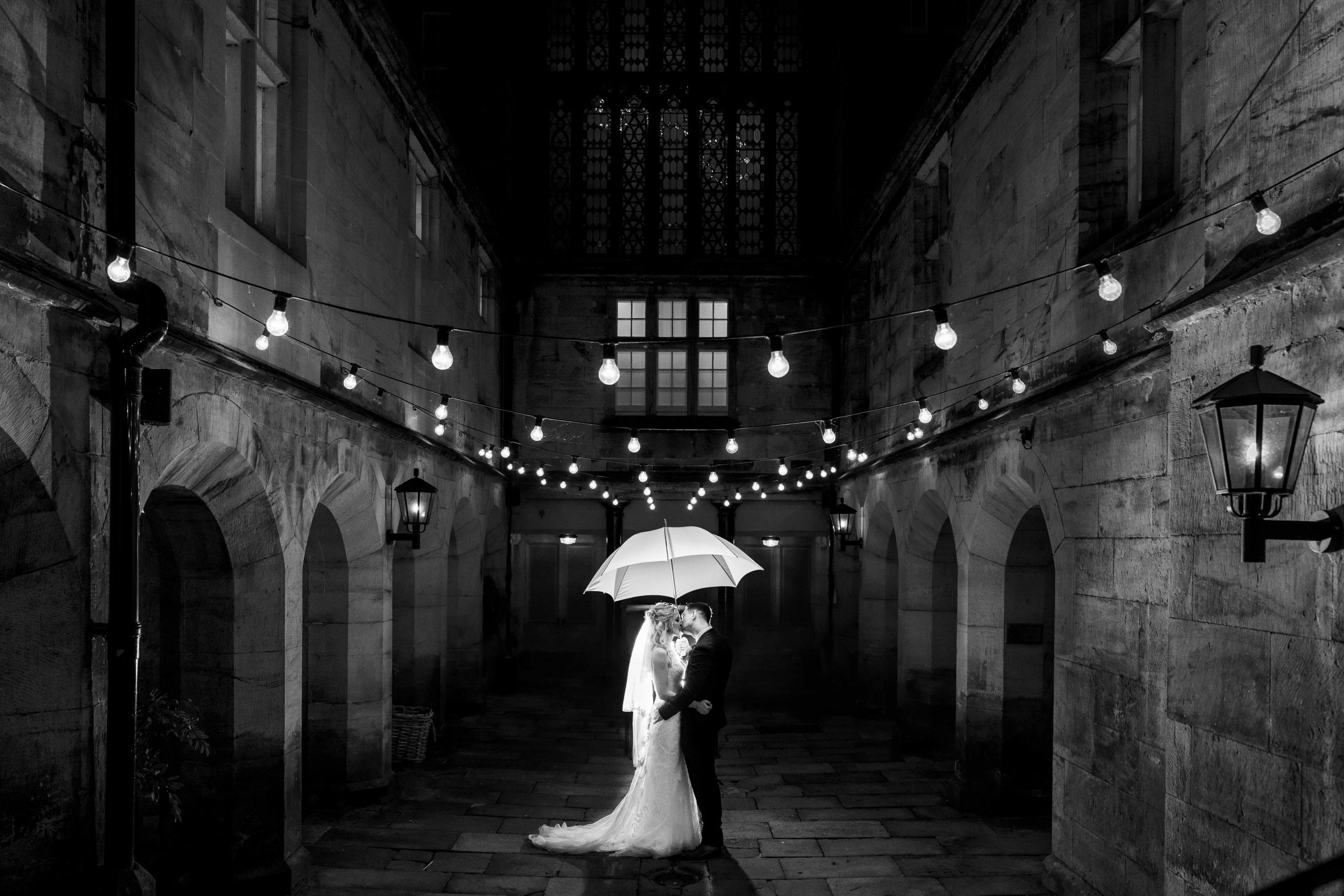 Black and white wedding photography at matfen hall, Northumberland