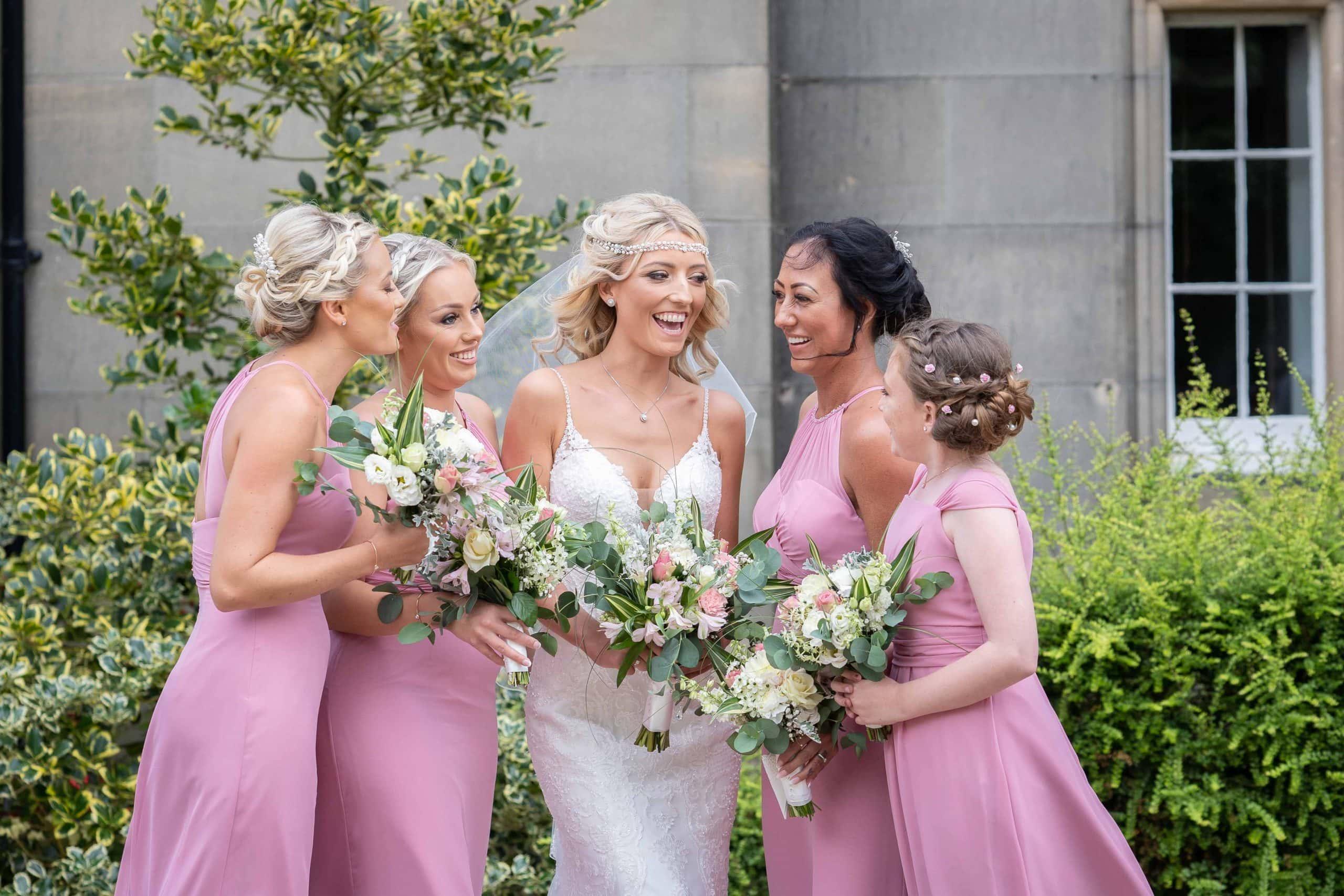 Bride and bridesmaids at matfen Hall