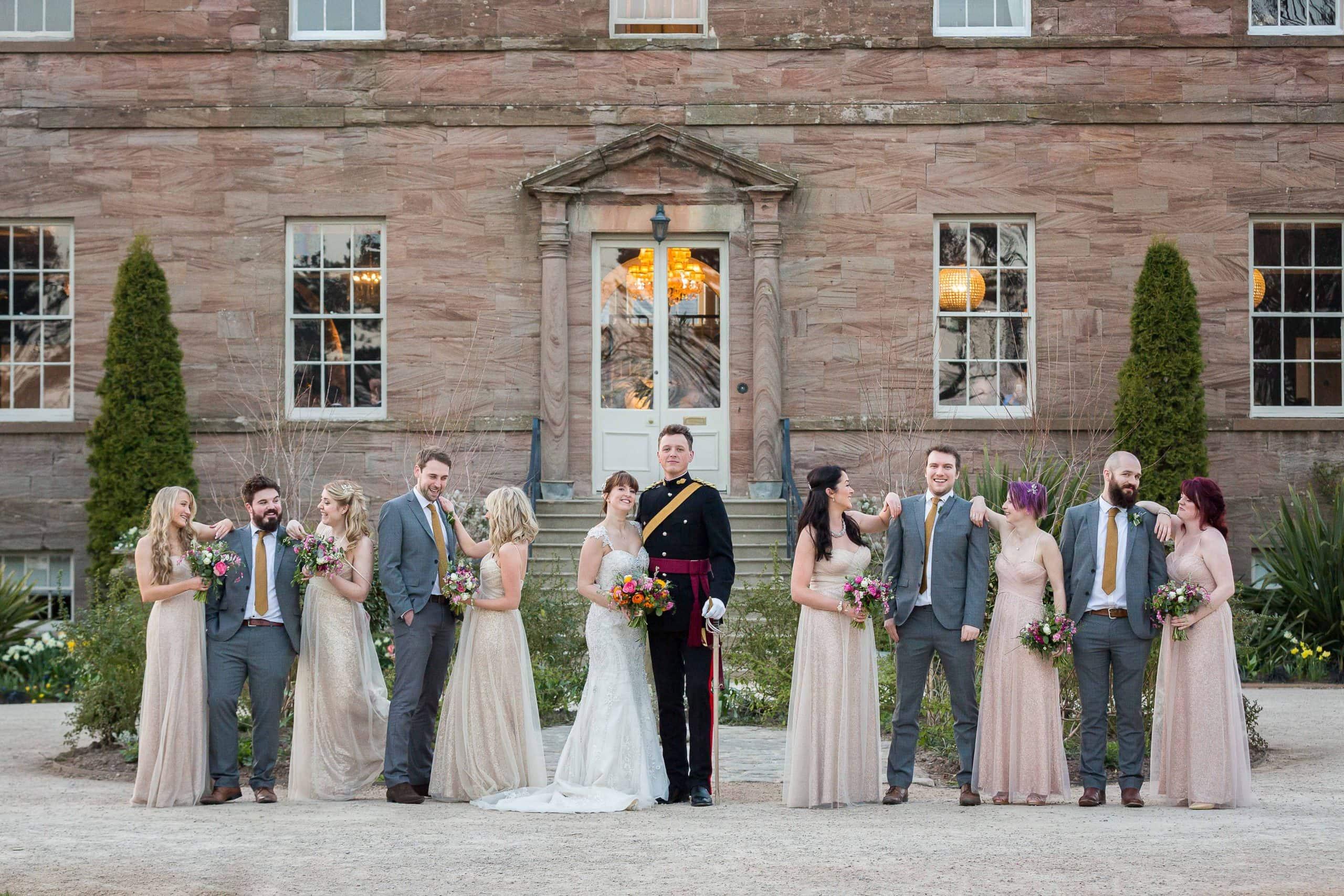 Bridal party at Newton Hall