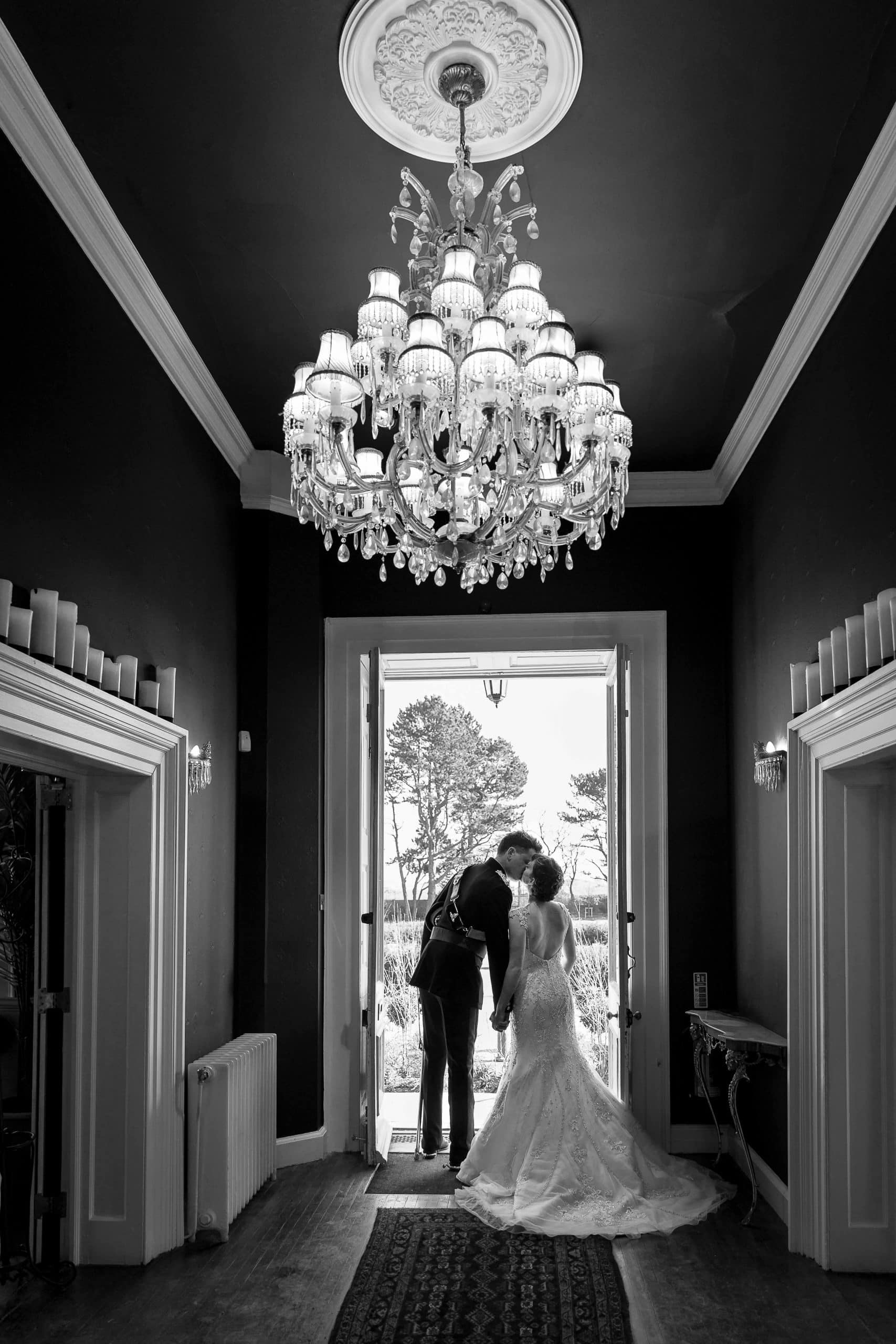 Black and white wedding images at Newton Hall