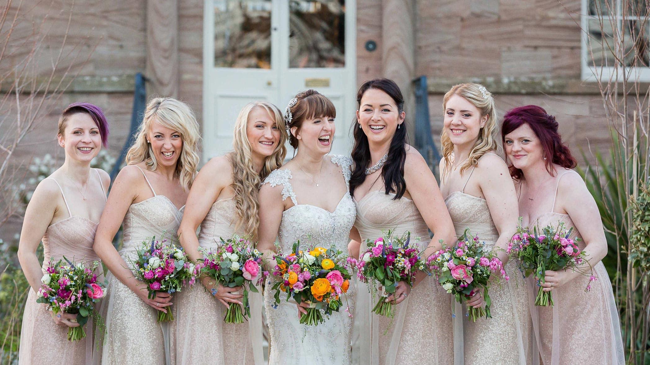 Bride and Bridesmaids at Newton hall, Northumberland