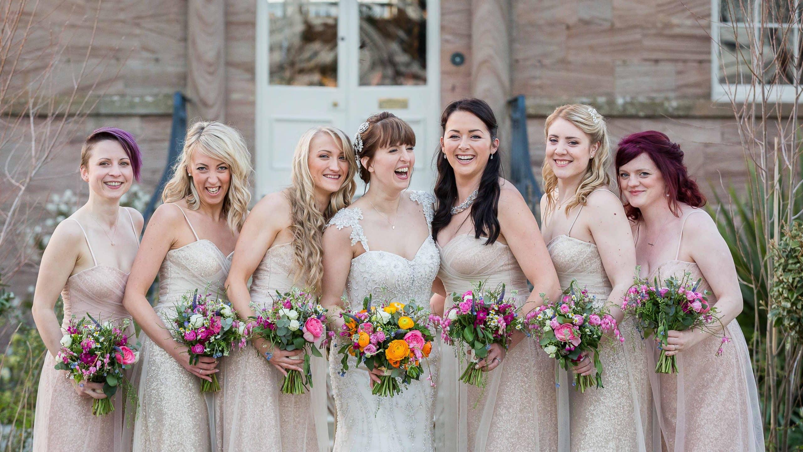 Bride and bridesmaids at Newton Hall