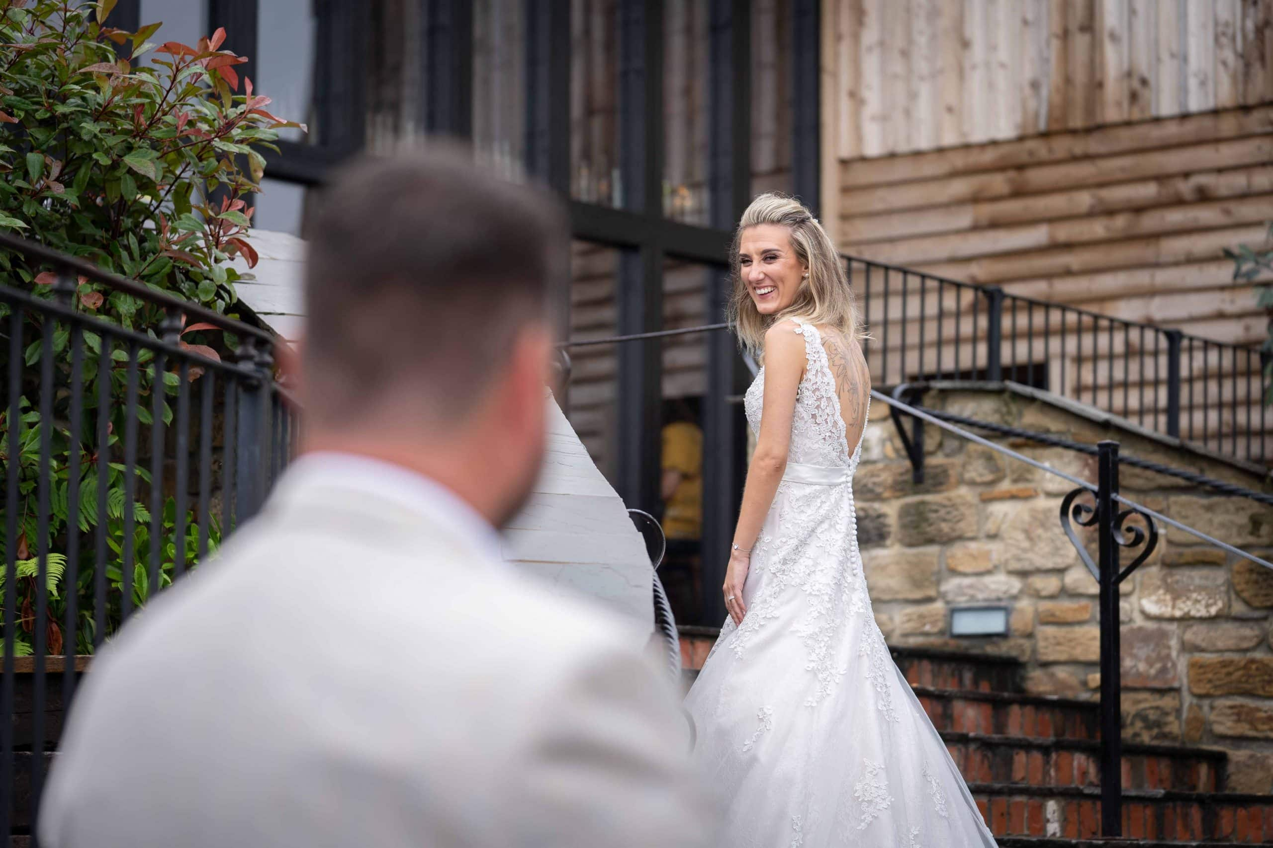 Bride and Groom at South Causey Inn