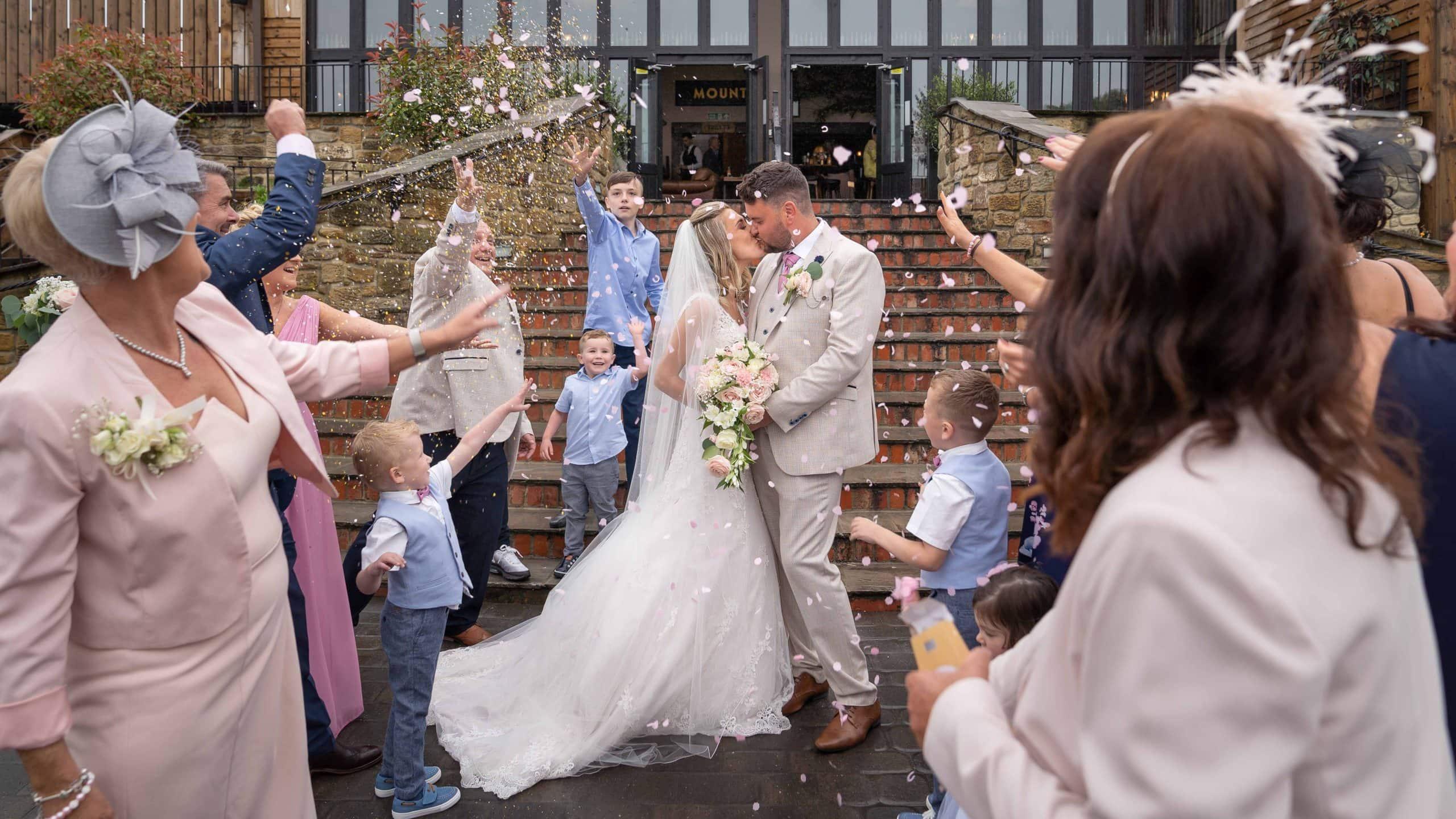 Wedding confetti at South Causey Inn