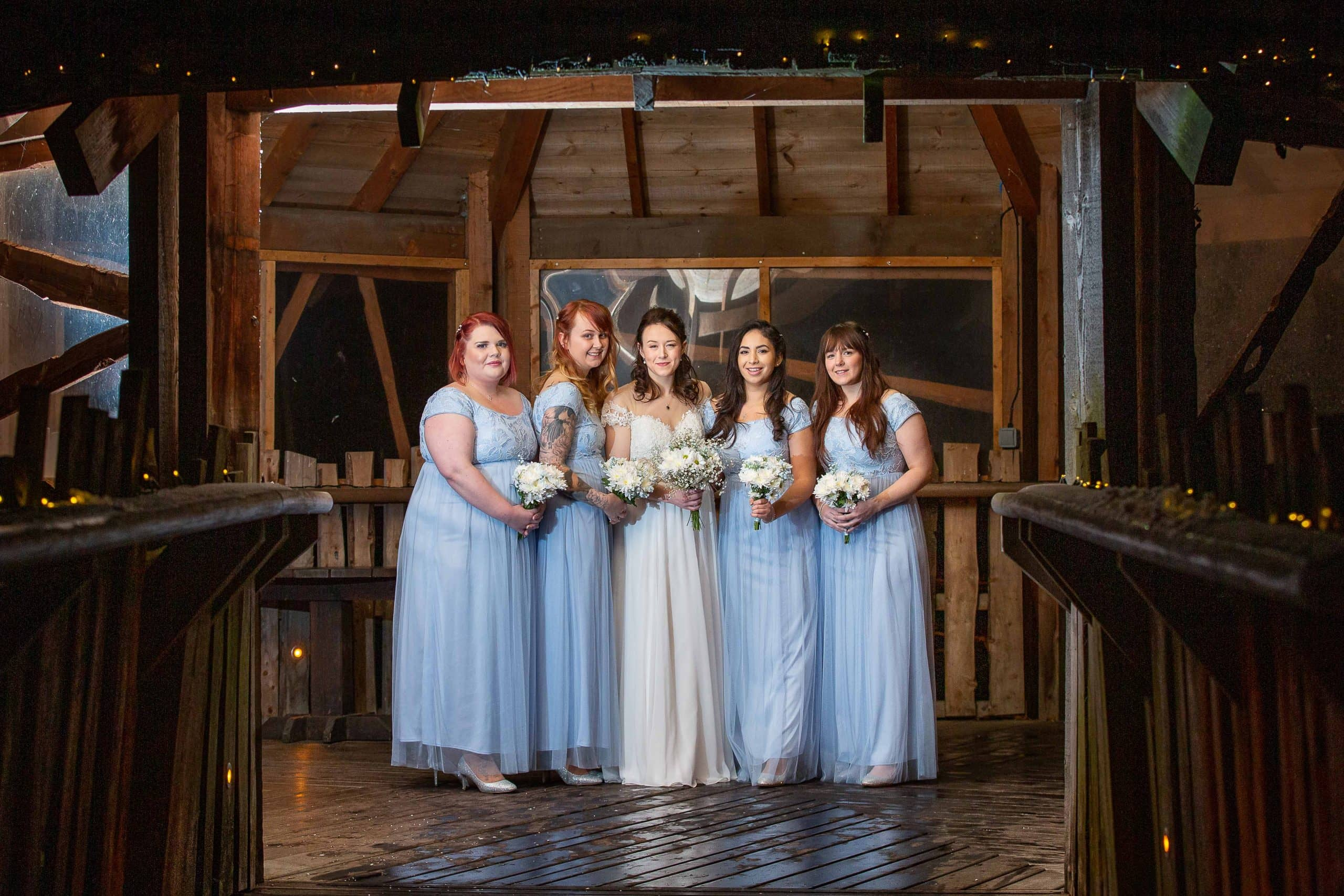 Bride with Bridesmaids at Tree House wedding Alnwick