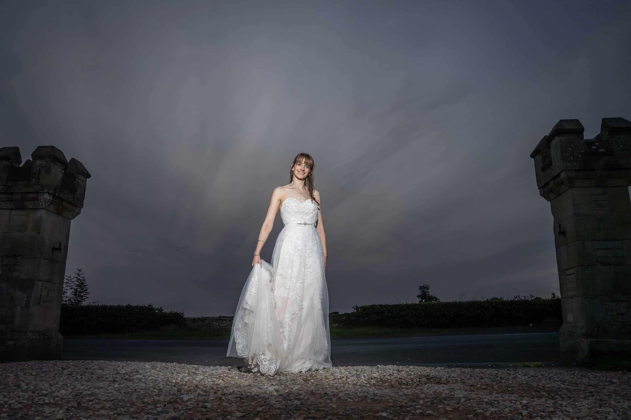 Creative bridal photos at Walworth Castle