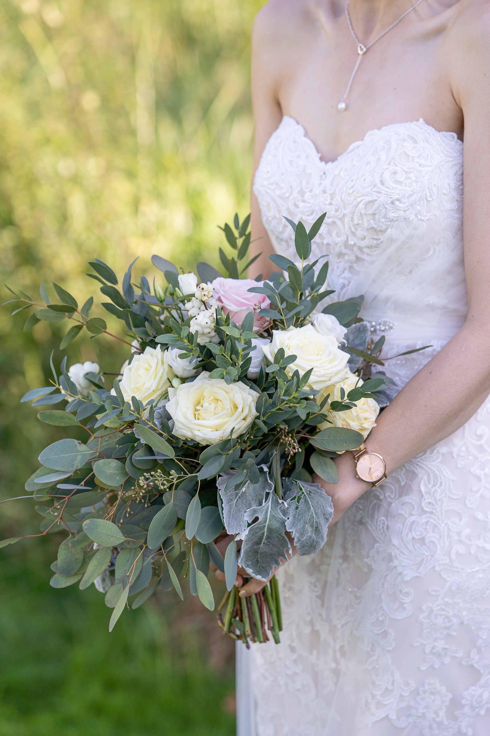 Wedding flowers at Walworth Castle