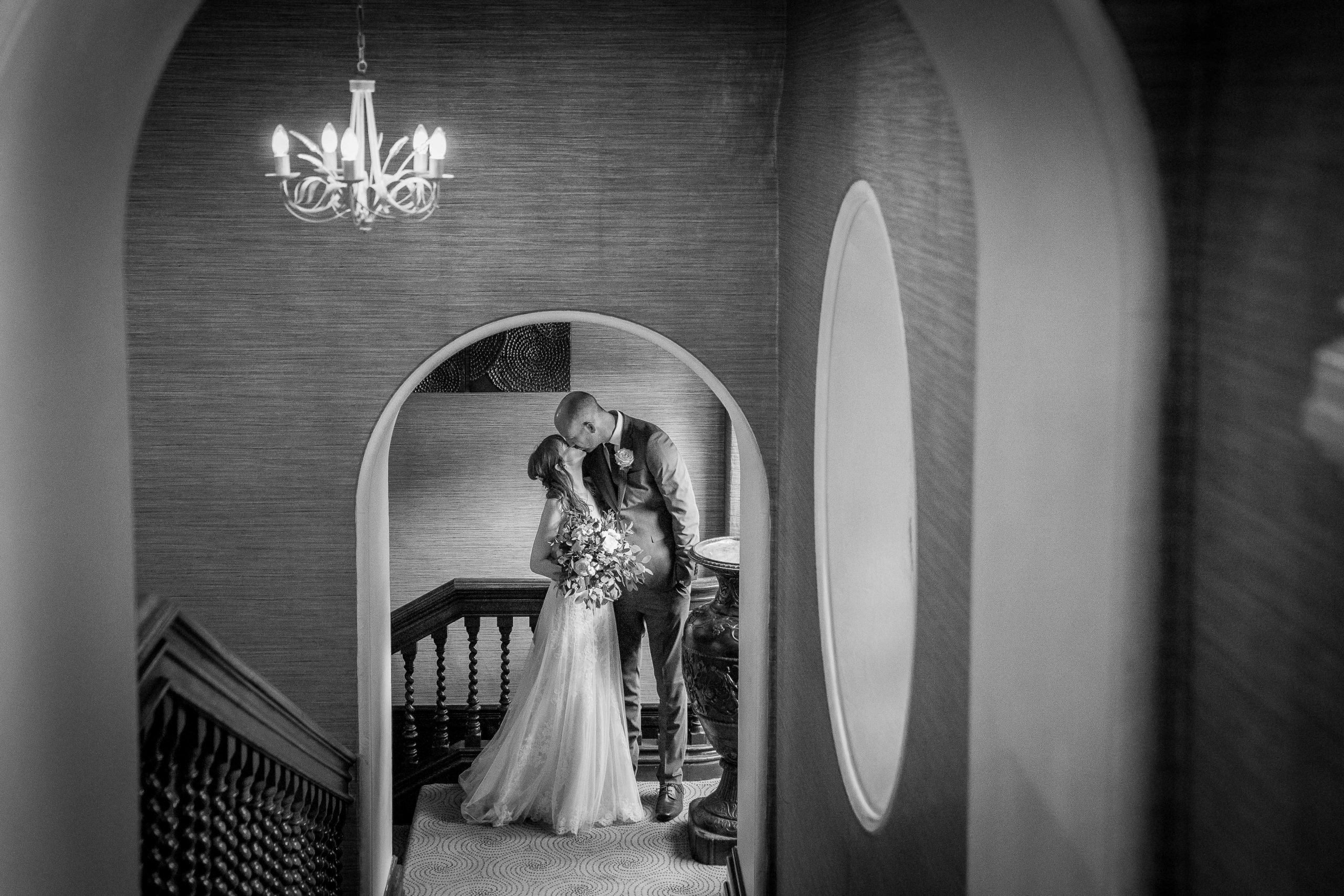 Bride and groom at Walworth Castle