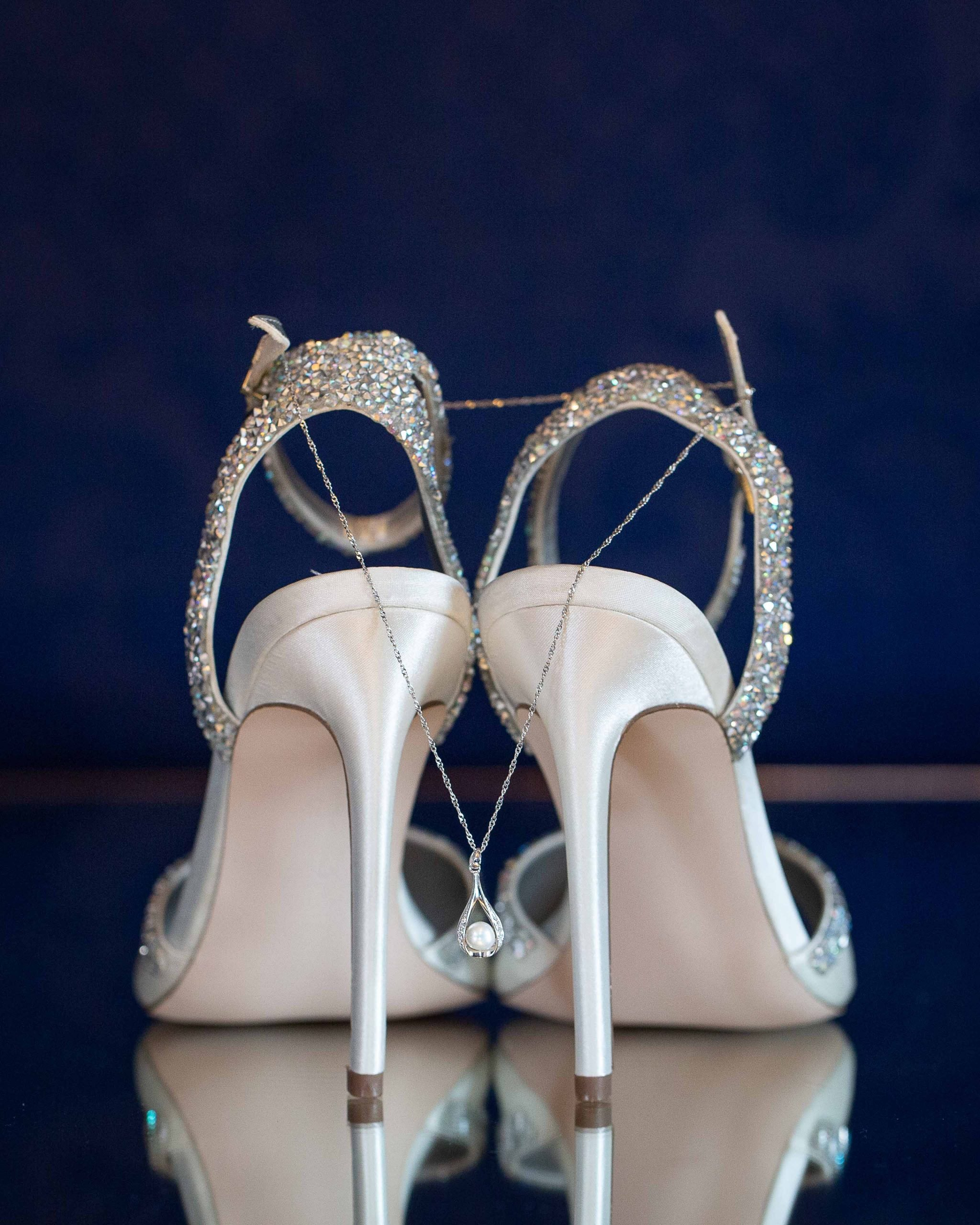 Brides shoes at Woodhill Hall