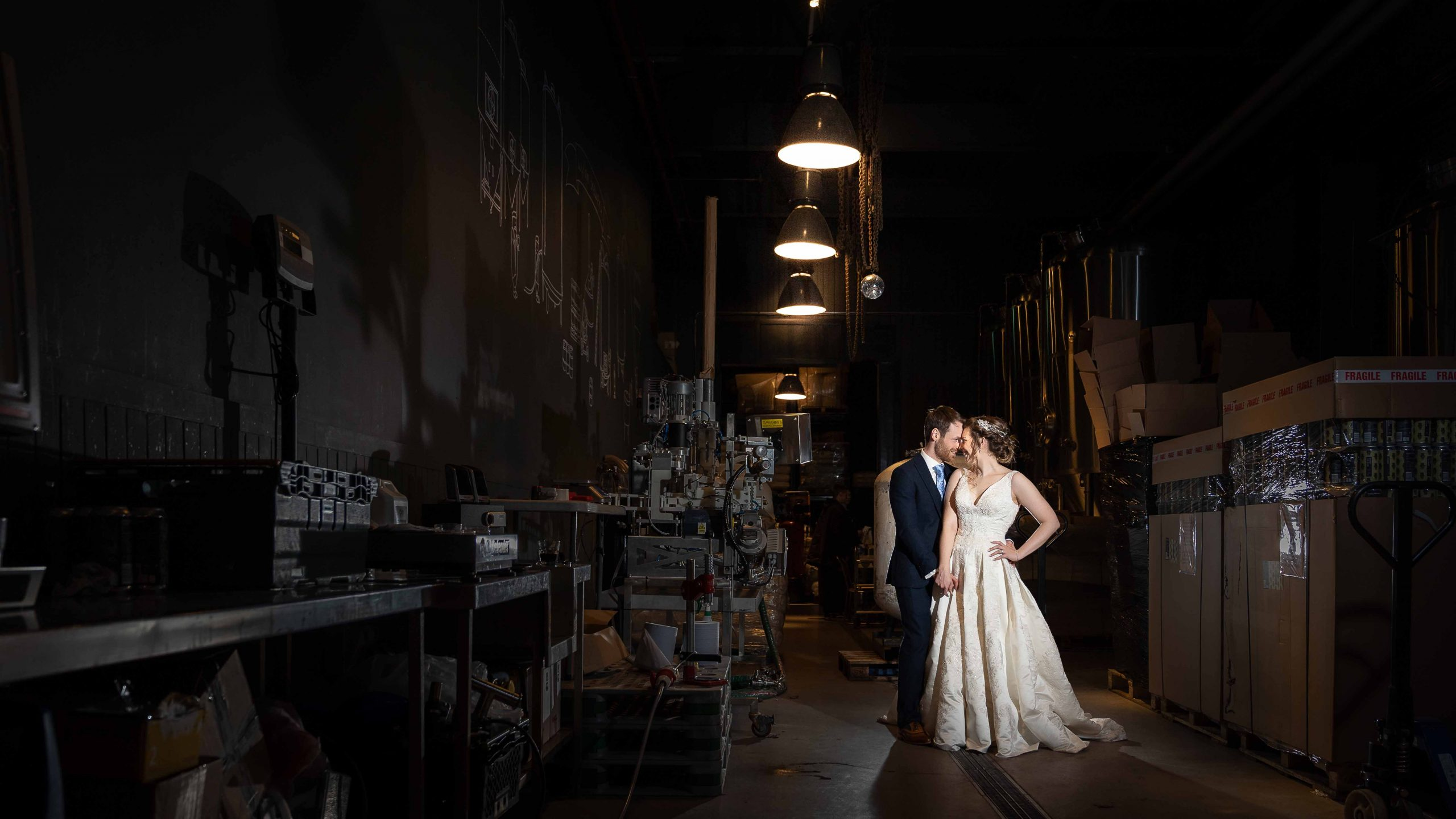 Image of bride and Groom at Wylam Brewery