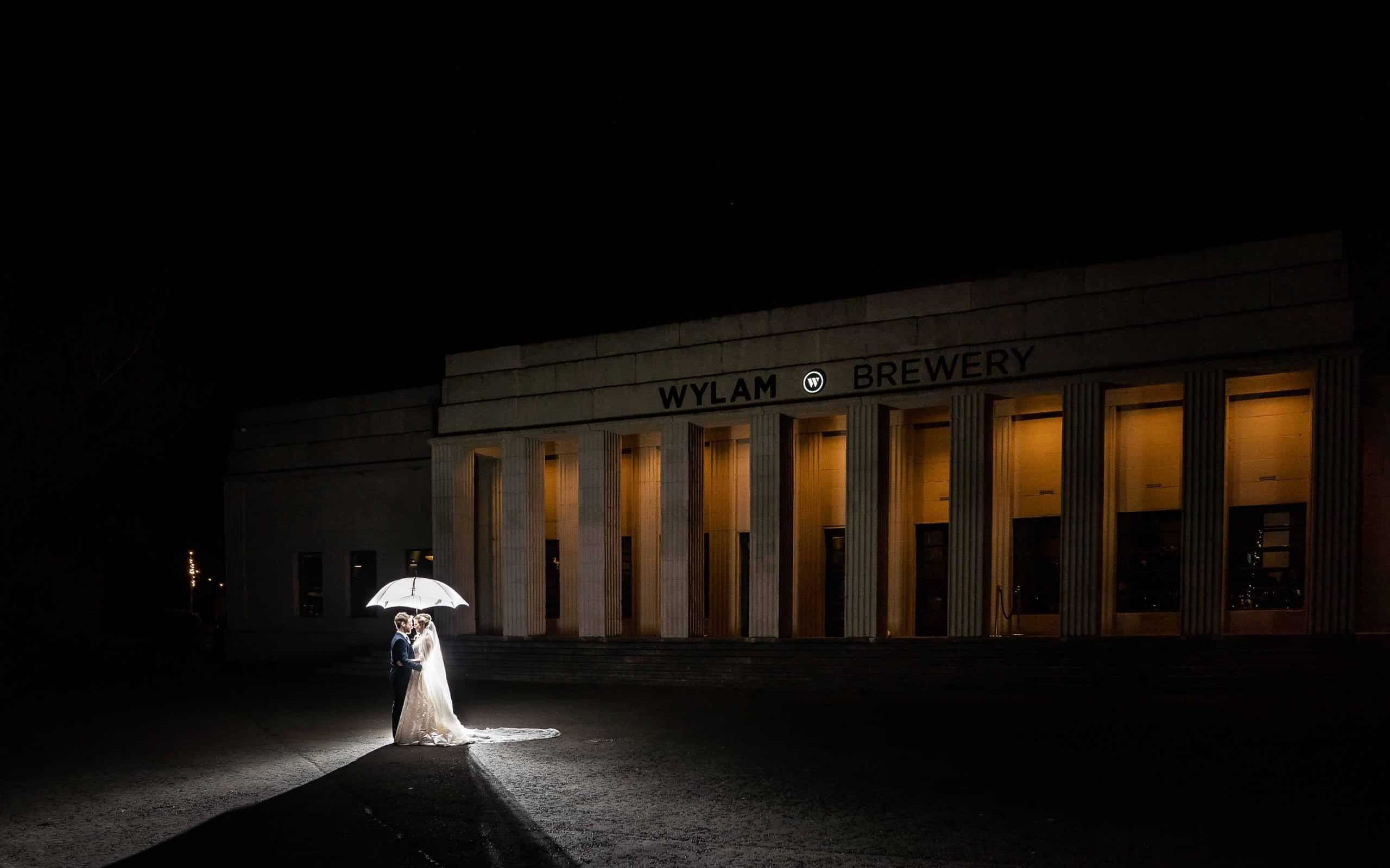 Night time wedding photo at Wylam Brewery