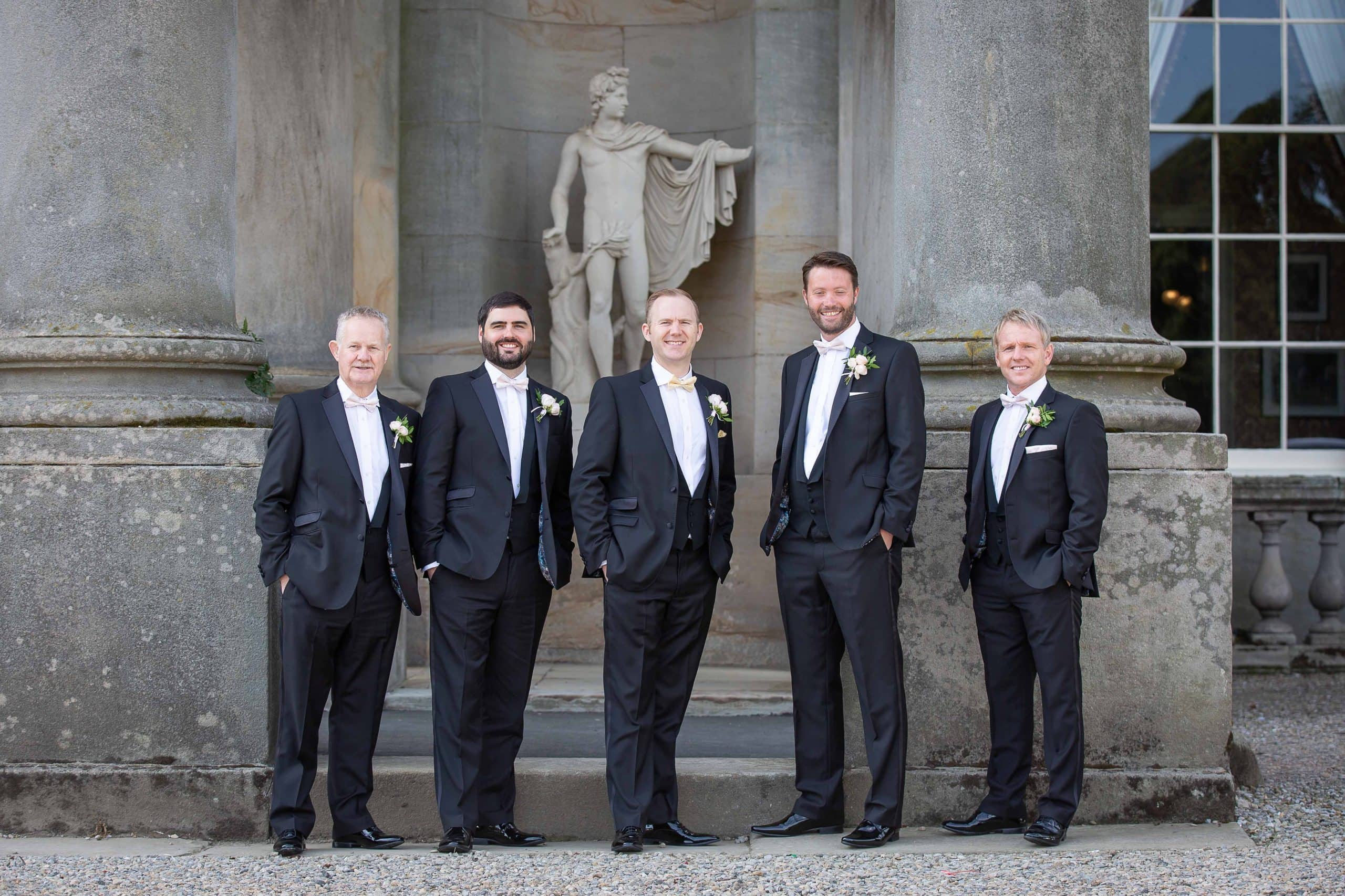 Groom and groomsmen at Wynyard Hall